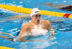 Kirill Prigoda of Russia compete in the Men 200m Breaststroke Final of FINA/airweave Swimming World Cup Doha 2017 at the Hamad Aquatic Centre in Doha , capital of Qatar on October. 04, 2017.Kirill Prigoda claimed the title with 2:01.24 (Xinhua/Nikku (Credit Image: © Nikku/Xinhua via ZUMA Wire)