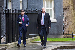 © Licensed to London News Pictures. 08/03/2017. London, UK. Conservative Chief Whip Gavin Williamson (L) and Transport Secretary Chris Grayling (R) arrive on Downing Street for Cabinet. The government will unveil the budget today. Photo credit: Rob Pinney/LNP