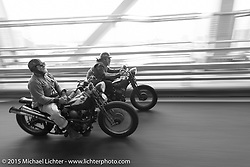 """The Race of Gentlemen's Mel Stultz  beside """"Sushi"""" Atsushi Yasui on a ride around Tokyo with friends of the Freewheelers And Company shop. Tokyo, Japan. December 8, 2015.  Photography ©2015 Michael Lichter."""