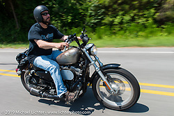 "Smokeout organizer Greg ""Edge"" Scheuer on the ride from Suck, Bang, Blow in Murrells Inlet, SC to Rockingham, NC for the Smokeout 2015. USA. June 18, 2015.  Photography ©2015 Michael Lichter."