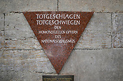 Germany, Berlin, Nollendorfplatz, The gay pink triangle Memorial plaque for the homosexuals murdered by the Nazi regime