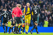 David Button (GK) (Brighton) thanking Lee Mason (Referee) at the end of the FA Cup fourth round match between Brighton and Hove Albion and West Bromwich Albion at the American Express Community Stadium, Brighton and Hove, England on 26 January 2019.