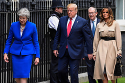 © Licensed to London News Pictures. 04/06/2019. LONDON, UK.  US President Donald Trump and Melania Trump arrive in Downing Street to meet outgoing Prime Minister Theresa May  and Philip May for talks, on day two of his three day State Visit to the UK.  Photo credit: Stephen Chung/LNP