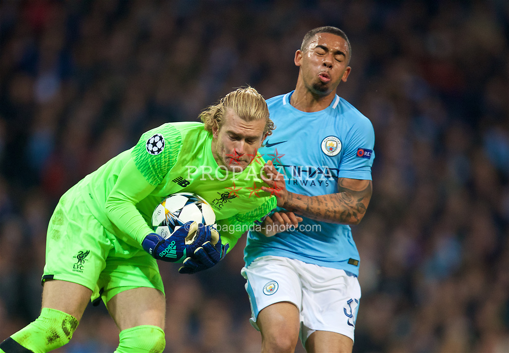 MANCHESTER, ENGLAND - Tuesday, April 10, 2018: Liverpool's goalkeeper Loris Karius (left) and Manchester City's Gabriel Jesus (right) during the UEFA Champions League Quarter-Final 2nd Leg match between Manchester City FC and Liverpool FC at the City of Manchester Stadium. (Pic by David Rawcliffe/Propaganda)