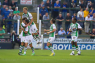 Edward Upson (far right) celebrates Yeovil's first goal during the Capital One Cup match, 2nd round, Yeovil Town v Birmingham City at Huish Park in Yeovil on Tuesday 27th August 2013. pic by Sophie Elbourn, Andrew Orchard sports photography,