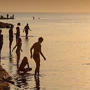 Bathers enter the water at Dead Sea, Jordan (December 2007)