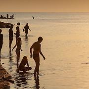 Bathers enter the water at Dead Sea, Jordan (December 2007)