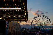 WASHINGTON, USA - September 15: The sun sets over the amusement rides at The Great Frederick Fair in Frederick, Md., USA on September 15, 2017.