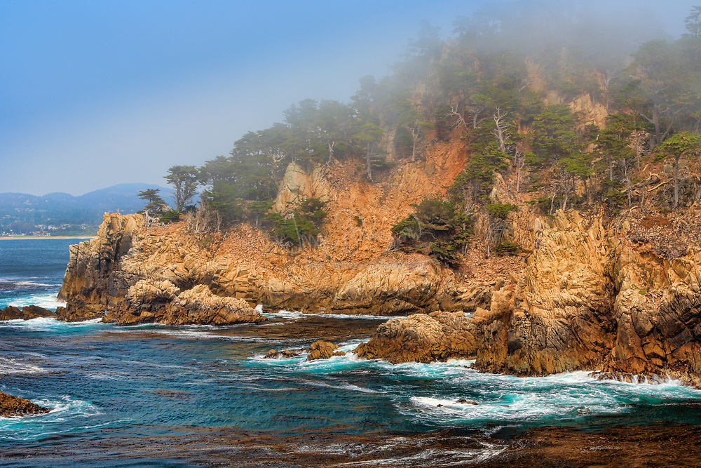Point Lobos is the common name for the area including Point Lobos State Natural Reserve and two adjoining marine protected areas: Point Lobos State Marine Reserve (SMR) and Point Lobos State Marine Conservation Area (SMCA). Point Lobos is just south of the town of Carmel-by-the-Sea, California, United States on the coast of the Pacific Ocean but north of Big Sur.