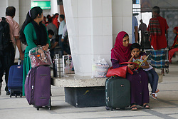 June 19, 2017 - Dhaka, Bangladesh - People leave for village by train for the upcoming religious festival Eid ul fitr at Kamalapur railway station in Dhaka on June 19, 2017. EId-ul-fitr is one of the biggest celebrations for Muslims around the world. As a Muslim country Bangladesh also celebrates this. During this celebration Bangladeshi people loves to celebrate this holy celebration with their family members. As people comes to Dhaka for education and job purpose, during the Eid time the rail stations, bus stations and launch terminal get overpopulated for the number of traveler. (Credit Image: © Mehedi Hasan/NurPhoto via ZUMA Press)