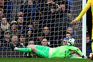 Everton goalkeeper Jordan Pickford (1) uses his shoulder to keep the ball out during the Premier League match between Everton and Chelsea at Goodison Park, Liverpool, England on 17 March 2019.