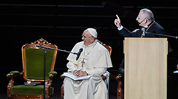 October 31, 2016 - Malm√, Sweden - Pope Francis, Bishop Munib A. Younan, President of Lutheran World Federation, ,are seen on stage during the 'Together in Hope' event at Malmo Arena on October 31, 2016 in Malmo, Sweden. The Pope is on 2 days visit attending Catholic-Lutheran Commemoration in Lund and Malmo.  (Credit Image: © Aftonbladet/IBL via ZUMA Wire)