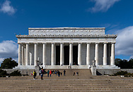 Washington, DC, USA -- February 14, 2020. A  wide angle photo of the Lincoln Memorial on the National Mall.