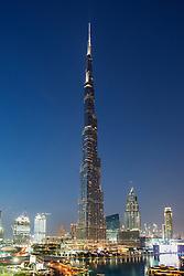 Dusk view of Burj Khalifa tower  in Dubai United Arab Emirates