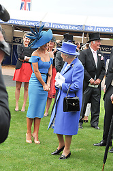 HM THE QUEEN and KATHERINE JENKINS at the 2012 Investec sponsored Derby at Epsom Racecourse, Epsom, Surrey on 2nd June 2012.