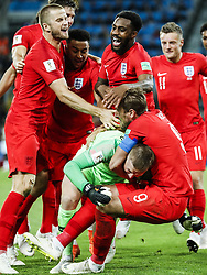 (l-r) Eric Dier of England, Dele Alli of England, Danny Rose of England, goalkeeper Jordan Pickford of England, Harry Kane of England,Jamie Vardy of England during the 2018 FIFA World Cup Russia round of 16 match between Columbia and England at the Spartak stadium  on July 03, 2018 in Moscow, Russia