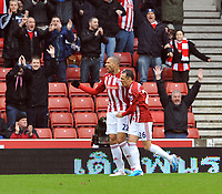 Stoke City/Sunderland Premiership 05.02.11<br />Photo: Tim Parker Fotosports International<br />John Carew Stoke City celebrates his 1st goal for the club with Matthew Etherington