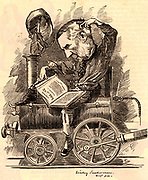 Edward William Watkin (1819-1901) English railway promoter and politician, born at Manchester.  Cartoon by Edward Linley Sambourne in the Punch's Fancy Portraits series from 'Punch' (London, 2 July 1881).