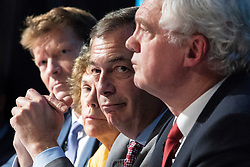 "© Licensed to London News Pictures . 22/09/2018. Bolton, UK. RICHARD TICE , KATE HOEY , NIGEL FARAGE and DAVID DAVIS . Pro Brexit campaign group Leave Means Leave host a "" Save Brexit "" and "" Chuck Chequers "" rally at the University of Bolton Stadium , attended by leave-supporting politicians from a cross section of parties , including Conservative David Davis , former UKIP leader Nigel Farage and Labour's Kate Hoey . Photo credit: Joel Goodman/LNP"