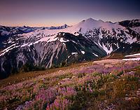 MORNING LIGHT ON RUTH MOUNTAIN AND MEADOWS OF HANNEGAN PEAK, MT. BAKER WILDERNESS WASHINGTON