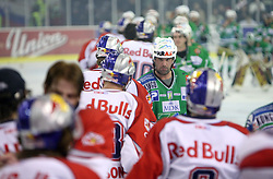 Todd Elik congratulates players of Salzburg after sixth game of the Final of EBEL league (Erste Bank Eishockey Liga) between ZM Olimpija vs EC Red Bull Salzburg,  on March 25, 2008 in Arena Tivoli, Ljubljana, Slovenia. Red Bull Salzburg won the game 3:2 and series 4:2 and became the Champions of EBEL league 2007/2008.  (Photo by Vid Ponikvar / Sportal Images)..