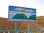 Road sign in Jordan showing the Dead Sea water level height