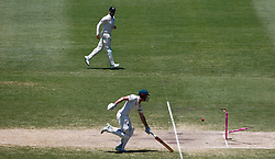 Australia's Shaun Marsh is run out by England's Mark Stoneman during day four of the Ashes Test match at Sydney Cricket Ground.