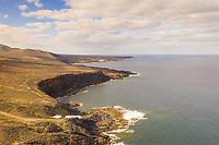 Aerial view of rock formation coastal line, Lanzarote, Spain.