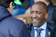 Southend United manager Chris Powell shaking hands with Luton Town Interim Manager Mick Harford, during the EFL Sky Bet League 1 match between Southend United and Luton Town at Roots Hall, Southend, England on 26 January 2019.