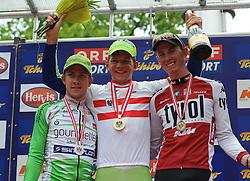 26.06.2011, Rad Strassenrennen, Staatsmeisterschaft, Eisenstadt, AUT, Oesterreichischer Radsportverband, im Bild das Siegerpodest 1. 70 KRIZEK Matthias, AUT REG Team 2000 Veneto Marchiol ITA , .2. 54 ZOIDL Riccardo, AUT RAD RC ARBOE Wels Gourmetfein AUT,.3. 19*HOFER Andreas, AUT TYR Tyrol - Team Radland Tirol AUT,, EXPA Pictures © 2011, PhotoCredit: EXPA/R.Eisenbauer