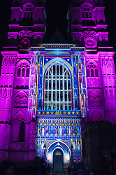 """© Licensed to London News Pictures. 14/01/2016. London, UK. """"The Light of the Spirit"""" by Patrice Warrener projected onto Westminster Abbey.  The work forms part of Lumiere London, a major new light festival which commenced today to be held over four evenings and featuring artists who work with light.  The event is produced by Artichoke and supported by the Mayor of London.  Photo credit : Stephen Chung/LNP"""