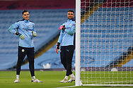 Manchester City goalkeepers during warm up during the Premier League match between Manchester City and Burnley at the Etihad Stadium, Manchester, England on 28 November 2020.