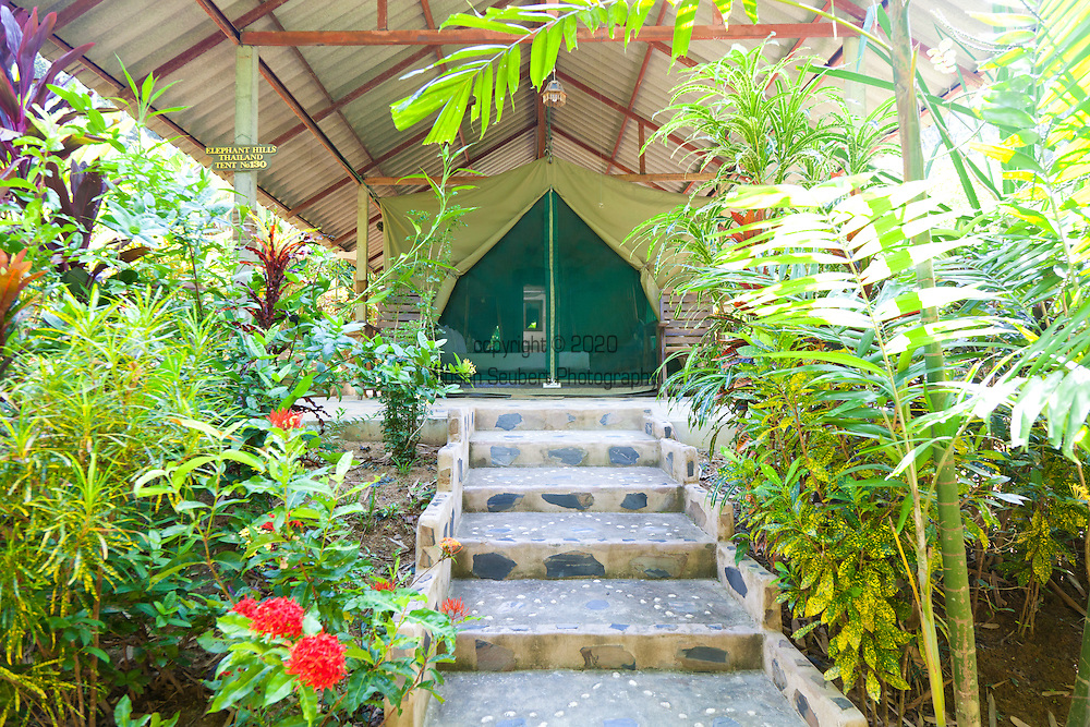 Elephant Hills Luxury Tented Camp in the rainforest in Southern Thailand.