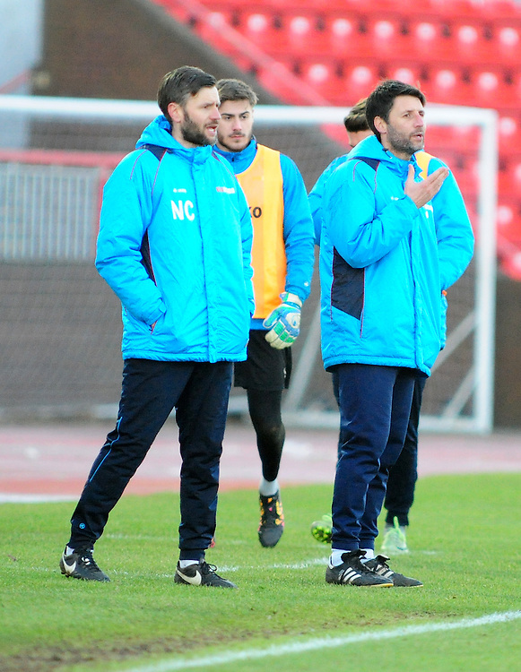 Lincoln City's assistant manager Nicky Cowley and Lincoln City manager Danny Cowley shouts instructions to his team from the dug-out<br /> <br /> Photographer Andrew Vaughan/CameraSport<br /> <br /> The Buildbase FA Trophy - The Buildbase FA Trophy Second Round - Gateshead v Lincoln City - Saturday 14th January 2017 - Gateshead International Stadium - Gateshead<br />  <br /> World Copyright © 2017 CameraSport. All rights reserved. 43 Linden Ave. Countesthorpe. Leicester. England. LE8 5PG - Tel: +44 (0) 116 277 4147 - admin@camerasport.com - www.camerasport.com
