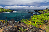 Wainapanapa State Park and the Honokalani Black Sand Beach in Maui, Hawaii.