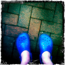 Blue crocs..Hipstamatic images taken on an Apple iPhone..©Michael Schofield.