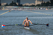 Plovdiv BULGARIA. 2017 FISA. Rowing World U23 Championships. <br /> USA.BLM1X. FRANCIS, James.<br /> Wednesday. PM,  Heats 17:37:12  Wednesday  19.07.17   <br /> <br /> [Mandatory Credit. Peter SPURRIER/Intersport Images].