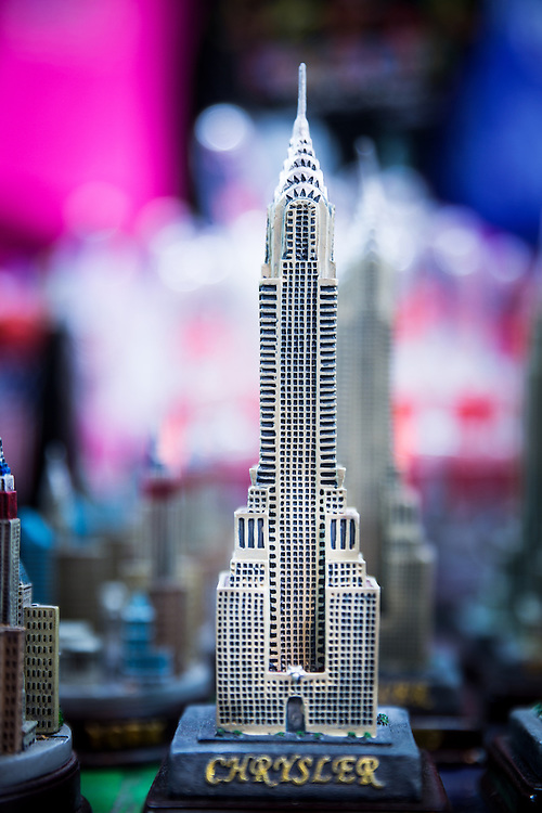 A statuette of the Chrysler Building in a souvenir shop near 42nd Street