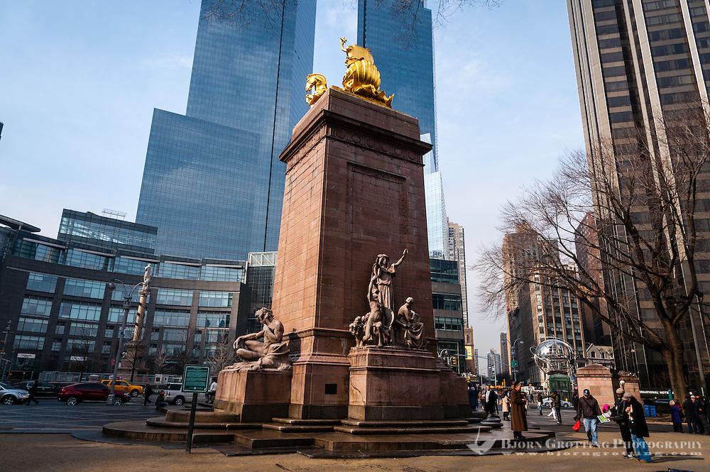 US, New York City. USS Maine Monument at Columbus Circle. Corner of Central Park, Manhattan.