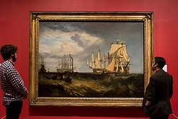 "© Licensed to London News Pictures. 26/10/2020. LONDON, UK. ""Spithead: Two Captured Danish Ships Entering Portsmouth Harbour"", 1807-09, by JMW Turner. Preview of ""Turner's Modern World"", a new landmark exhibition of over 150 works exhibition by JMW Turner at Tate Britain, 28 October to 7 March 2021.  Photo credit: Stephen Chung/LNP"