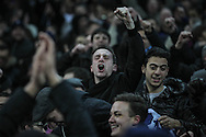 Spurs fan celebrates during the Barclays Premier League match between Manchester City and Tottenham Hotspur at the Etihad Stadium, Manchester, England on 14 February 2016. Photo by Mark P Doherty.