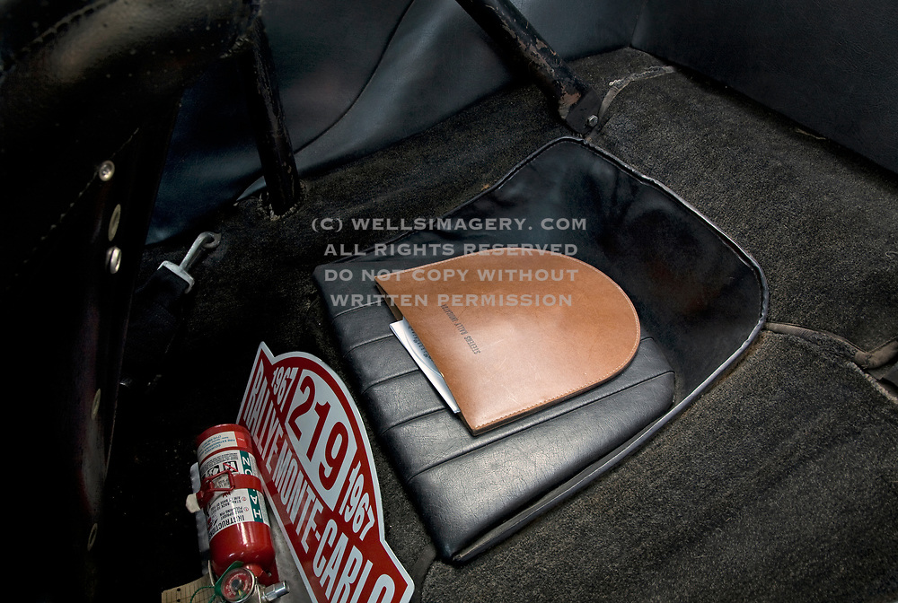Image of the interior of the Rolly Resos 1966 Porsche 911 R Gruppe Hot Rod ex-rally car in Cambria, California, America West, property released by Randy Wells