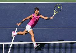 March 15, 2019 - Indian Wells, California, U.S. - RAFAEL NADAL (ESP) in action defeating Karen Khachanov (RUS) in the men's singles quarterfinal on March 15, 2019, during the BNP Paribas Open at the Indian Wells Tennis Garden in Indian Wells, CA. Nadal won 7:6, 7:6. (Credit Image: © John Cordes/Icon SMI via ZUMA Press)