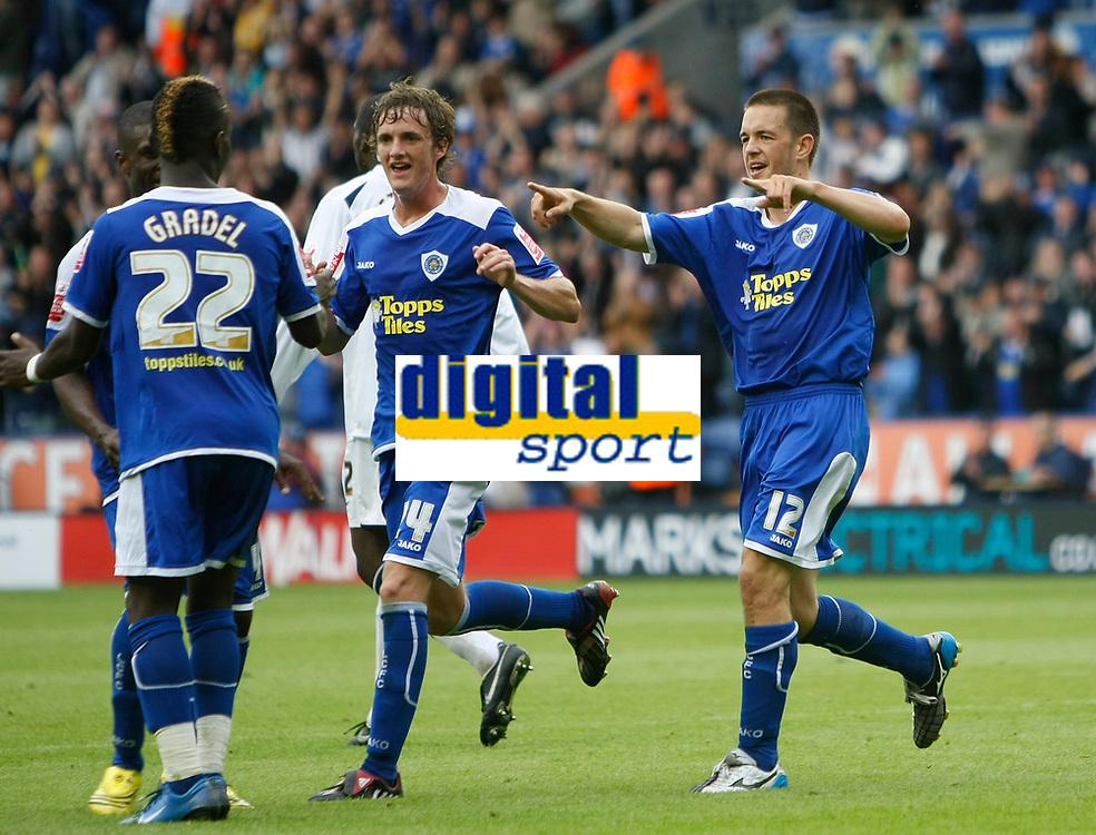 Photo: Steve Bond/Richard Lane Photography<br /> Leicester City v MK Dons. Coca-Cola League One. 09/08/2008. Matty Fryatt (R) celebrates no2