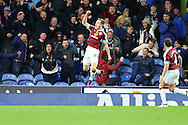 Ashley Barnes of Burnley celebrates after scoring his teams 3rd goal. Premier League match, Burnley v Crystal Palace at Turf Moor in Burnley , Lancs on Saturday 5th November 2016.<br /> pic by Chris Stading, Andrew Orchard sports photography.