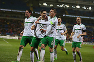 Craig Cathcart of Northern Ireland (20) celebrates with Steven Davis (8)after he scores his teams 1st goal. . Wales v Northern Ireland, International football friendly match at the Cardiff City Stadium in Cardiff, South Wales on Thursday 24th March 2016. The teams are preparing for this summer's Euro 2016 tournament.     pic by  Andrew Orchard, Andrew Orchard sports photography.