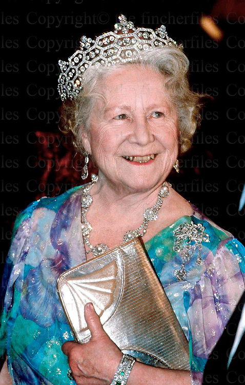 The Queen Mother seen at the film premiere of 'Hot Shots in London in March 1989.
