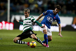 December 1, 2017 - Lisbon, Portugal - Sporting's defender Fabio Coentrao (L) vies for the ball with Belenenses's midfielder Bruno Pereirinha (R)  during Primeira Liga 2017/18 match between Sporting CP vs CF Belenenses, in Lisbon, on December 1, 2017. (Credit Image: © Carlos Palma/NurPhoto via ZUMA Press)