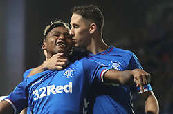 Rangers Alfredo Morelos is kissed by Nikola Katic as he celebrates scoring his side's third goal of the game during the Betfred Cup quarter final match at Ibrox Stadium, Glasgow.