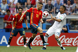(l-r) Jordi Alba of Spain, Aleksandr Samedov of Russia during the 2018 FIFA World Cup Russia round of 16 match between Spain and Russia at the Luzhniki Stadium on July 01, 2018 in Moscow, Russia